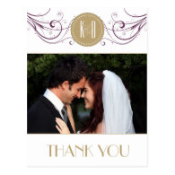 Art Deco purple and taupe Thank you card Postcards