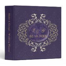 Art Deco Purple Gold Photo Wedding Planner Binder
