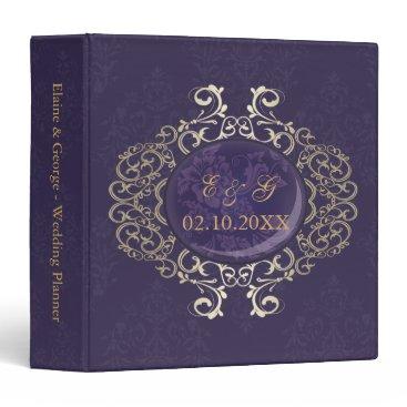 Art Deco Purple Gold Photo Wedding Planner Binder