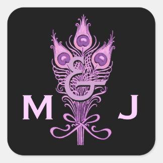 Art Deco Purple Peacock Feathers Monogram Wedding Square Sticker
