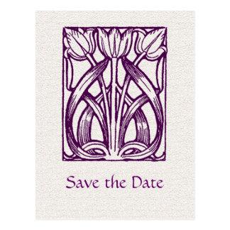 Art Deco PurpleTulips Save the Date Postcard