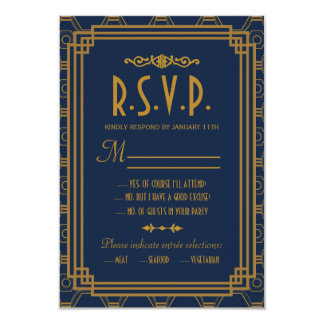 Art déco que casa tarjetas de la respuesta de RSVP Invitación 8,9 X 12,7 Cm