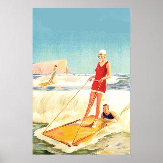 Art déco que practica surf del poster del vintage