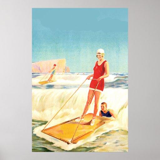 Art déco que practica surf del vintage póster