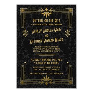 Art déco que ruge la invitación negra del boda del