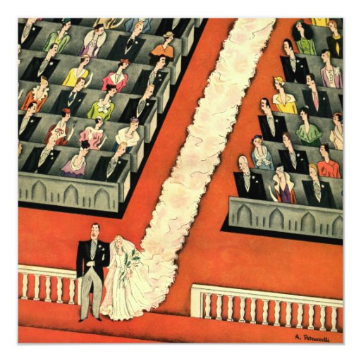 """Art déco que se casa, recienes casados del vintage invitación 5.25"""" x 5.25"""""""