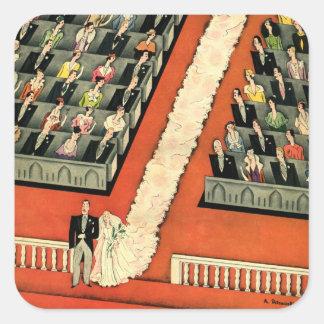 Art déco que se casa, recienes casados del vintage pegatina cuadrada