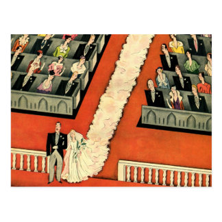 Art déco que se casa recienes casados del vintage tarjetas postales
