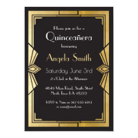 Art Deco Quinceanera Party Gatsby Black Invite 15