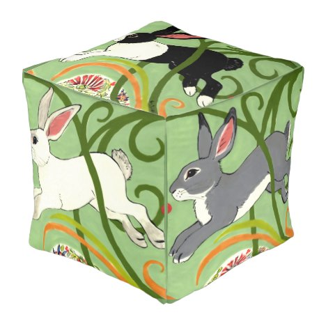Art Deco Rabbit Pouf with Rabbits and Green Vines