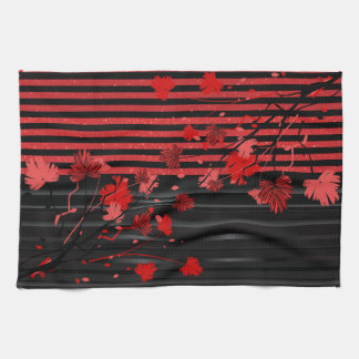 Art Deco Red and Black Floral Towel