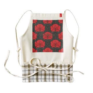 Art deco,red flowers,black,vintage,chic,elegant, zazzle HEART apron