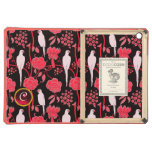 ART DECO RED FLOWERS,WHITE PARROTS ON BLACK iPad AIR COVERS