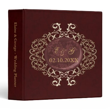 Art Deco Red Gold Photo Wedding Planner Binder