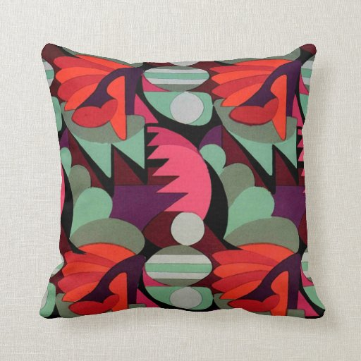 Art Deco Red Pattern - Pillow