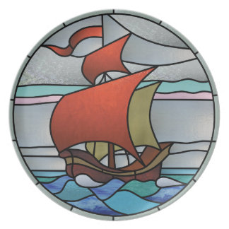 Art Deco Red Sail Dinner Plates