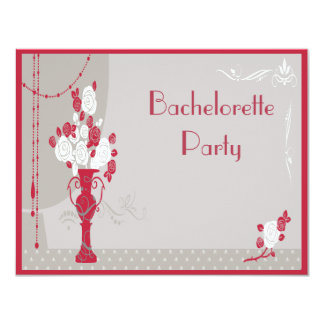 Art Deco Red & White Roses Bachelorette Party Card