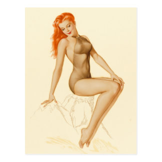 Art Deco Redhead Pin Up Postcard