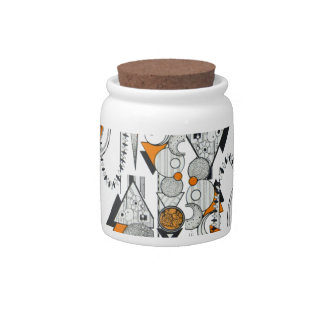 Art Deco Retro Geometric Pattern Orange black 80s Candy Jar