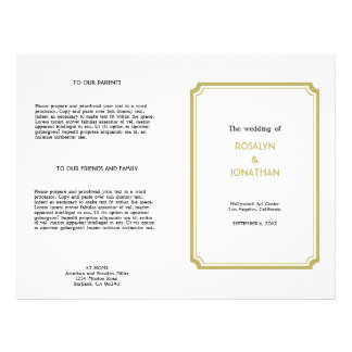 Art deco retro Hollywood white tan wedding program