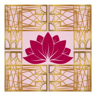 Art Deco Retro Lotus (cerise) Poster