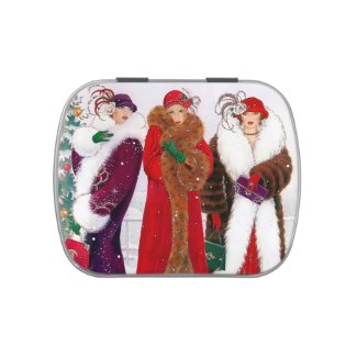 Art deco retro vintage Christmas Ladies party Candy Tin