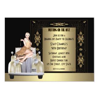 Art Deco Roaring 20's Birthday Party 5x7 Paper Invitation Card