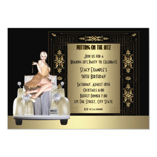 Art Deco Roaring 20's Birthday Party Card