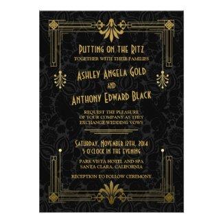 Art Deco Roaring 20s Black Gold Wedding Invitation