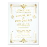 Art Deco Roaring 20s Gold White Wedding Invitation