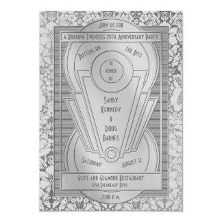 Art Deco Roaring Twenties Silver 25th Anniversary Invitation