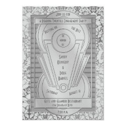 Art Deco Roaring Twenties Silver Engagement Party Card