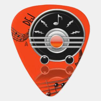 Art Deco Rockin' Radio Red-Orange (Personalized) Guitar Pick