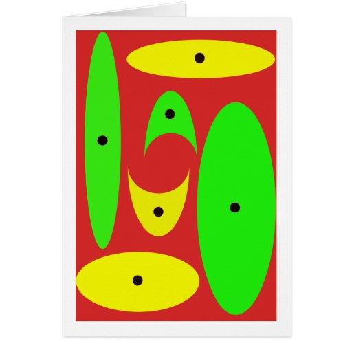 Art déco rojo, verde, amarillo y negro tarjetón
