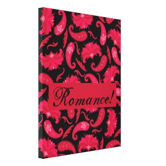 Art déco romántico negro rojo Paisley parisiense Impresiones En Lona