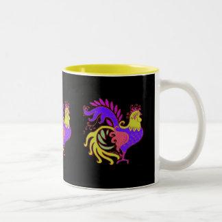 Art déco Rooster2resizejewel, art déco Rooster2… Taza De Café De Dos Colores