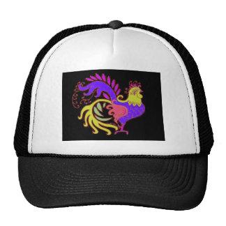 Art Deco Rooster (Jewel Tone) Mesh Hats