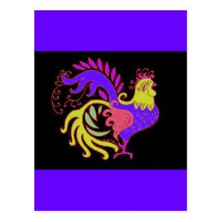 Art Deco Rooster (Jewel Tone) Postcard