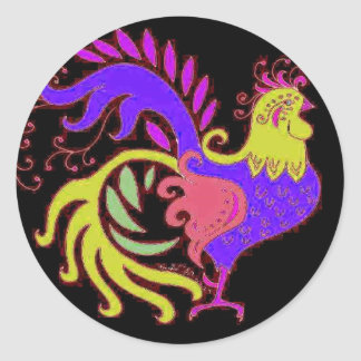 Art Deco Rooster (Jewel Tone) Round Stickers