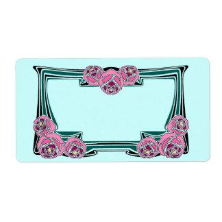 art deco rose panel label