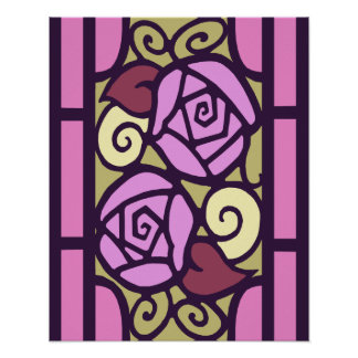 Art Deco Roses in Pink & Gold Poster