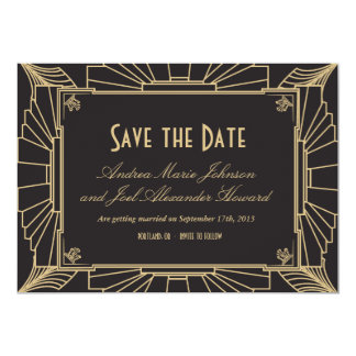 Art Deco Save the Date by Origami Prints 5x7 Paper Invitation Card