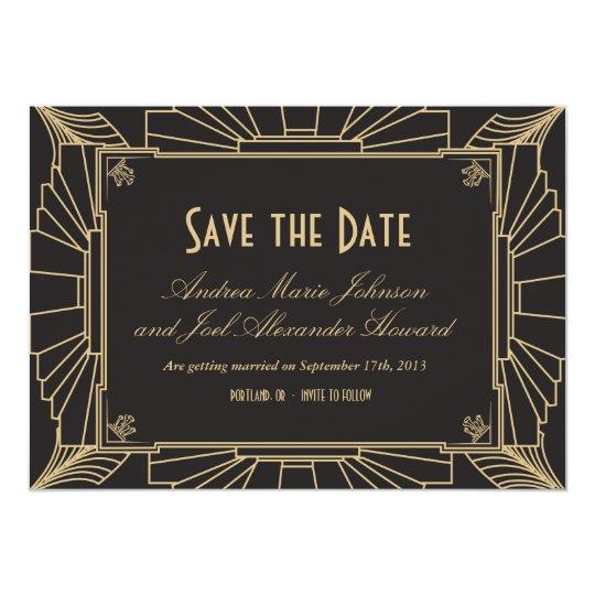 art deco save the date by origami prints invitation zazzle com