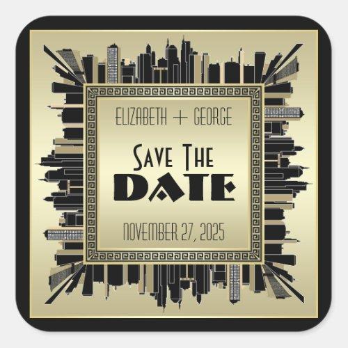 Art Deco Save the Date Champagne Gold Gatsby Glam Square Sticker