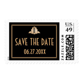 Art Deco Save The Date Great Gatsby Wedding Stamps