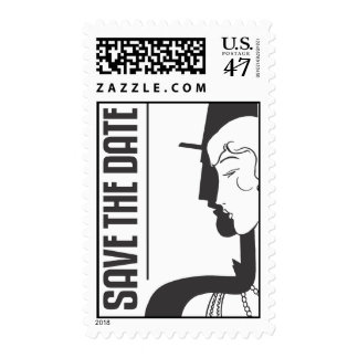 Art Deco Save The Date - Postage Stamp
