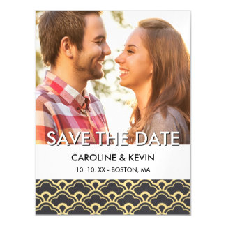 Art Deco Save the Date | Scalloped Shells Magnetic Card