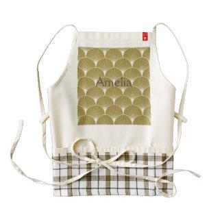 Art deco,scallop,pattern,gold,white,silver,chic, zazzle HEART apron