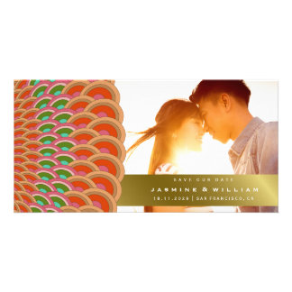 Art Deco Scalloped Fan Save The Date Photo Card