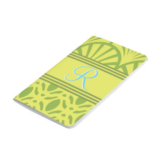 Art Deco Scalloped Pastel Lime Monogram Journal